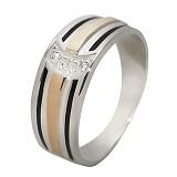 Серебряное кольцо с фианитами и золотой вставкой Кокетка