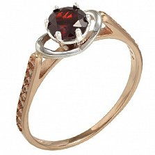 Золотое кольцо Валери с гранатом и фианитами