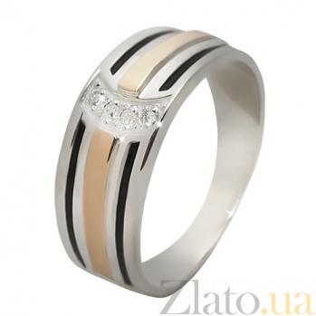 Серебряное кольцо с фианитами и золотой вставкой Кокетка BGS--703к