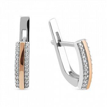 Серебряные серьги дорожки с золотой накладкой и фианитами 000150570