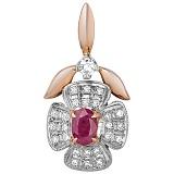 Золотой кулон с рубином и бриллиантами Рубиновая свадьба