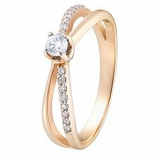 Кольцо в красном золоте Трепет чувств с бриллиантами