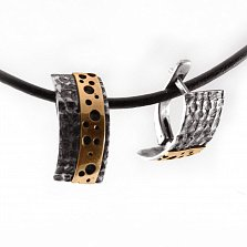 Cеребряные серьги Maasdam с золотыми вставками и чернением