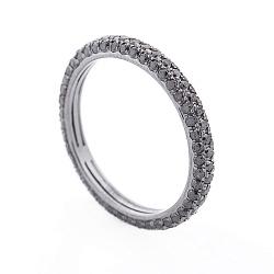 Золотое черненое кольцо Шарпи с черными бриллиантами