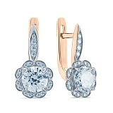 Серебряные серьги позолоченные с цирконием Натали