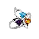 Серебряное кольцо с аметистом,топазом и цитрином Аркадия