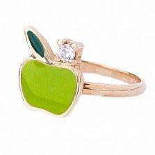 Золотое кольцо с цветной эмалью и фианитом Яблочко