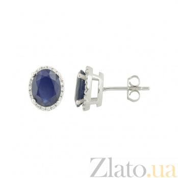Серебряные серьги с сапфиром и фианитами Гленда 3С731-0060