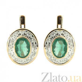 Золотые серьги с бриллиантами и изумрудами Зеница ZMX--EE-6173_K