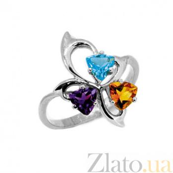 Серебряное кольцо с аметистом,топазом и цитрином Аркадия ZMX--RamTCt-6617-Ag_K