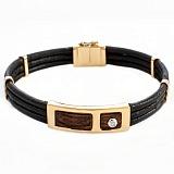 Кожаный браслет с эбеновым деревом, золотом и бриллиантом Мортимер