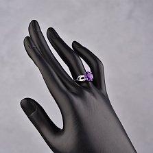 Серебряное кольцо Мамбо с аметистом и фианитами