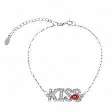 Серебряный браслет с цирконием и эмалью Kiss