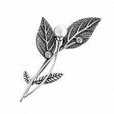 Серебряная брошка Веточка с белыми жемчугом и завальцованными фианитами