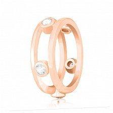 Серебряное кольцо Викки с фианитами и позолотой в стиле Тиффани