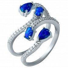 Серебряное кольцо Броваллия с фантазийной шинкой, опалами и фианитами