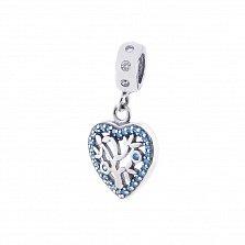 Серебряный шарм-подвес Цветок любви с голубыми и белыми фианитами