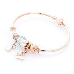 Золотой браслет с шармами Невесомость с голубым и белыми фианитами