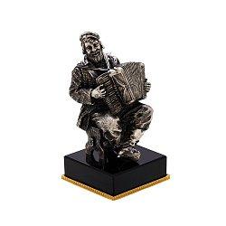 Бронзовая скульптура Аккордеонист с серебрением на подставке из оптического стекла 000051943