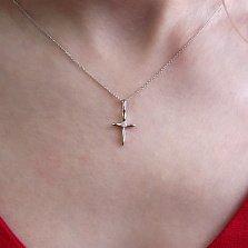 Золотой крестик Кроха в белом цвете с бриллиантом