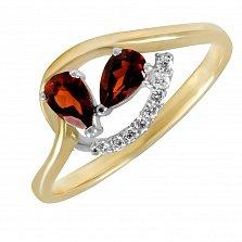 Кольцо из желтого золота Марсель с бриллиантами и гранатами