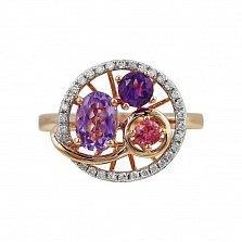 Кольцо из красного золота Кувшинка с бриллиантами, аметистами и розовым турмалином