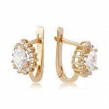 Золотые серьги Фаина с кристаллами Swarovski и фианитами