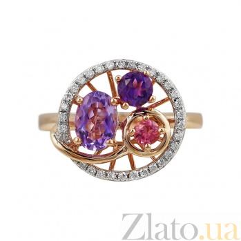 Кольцо из красного золота Кувшинка с бриллиантами, аметистами и розовым турмалином 000080887