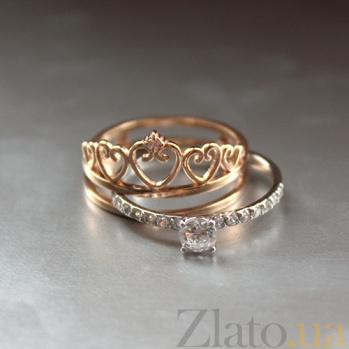 Золотое кольцо Королева любви с фианитами 000047768