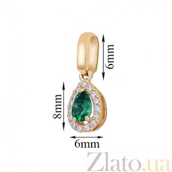Золотой подвес Капля росы с зеленым кварцем и фианитами 000001241