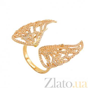 Кольцо Ангельские крылья в лимонном золоте с цирконием VLT--ТТ1331