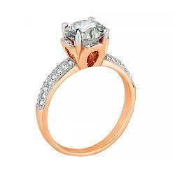 Позолоченное серебряное кольцо с фианитами 000028191