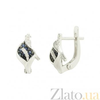 Золотые серьги с сапфирами и бриллиантами Янина 1С191-0030