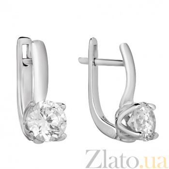Серебряные серьги с фианитами Джулия HUF--20257-Р