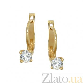 Золотые серьги с фианитами Касия 2С304-0212