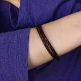 Коричневый кожаный браслет Тиронд с серебряным замком