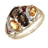 Кольцо из желтого золота Палермо с раухтопазами, гранатами, цитринами и бриллиантами