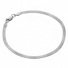 Серебряный родированный браслет Ньюкасл с плетением, 19 размер