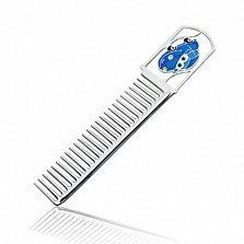 Серебряная расческа с голубой эмалью Тачки
