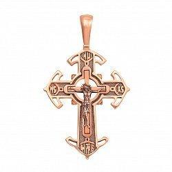 Православный крест из красного золота с чернением 000129482