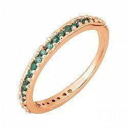 Серебряное кольцо с зелеными фианитами и позолотой 000025558