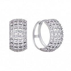Серебряные серьги-конго с фианитами, 16мм 000134332