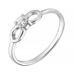 Золотое кольцо Бантик в белом цвете со Swarovski Zirconia