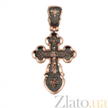 Золотой крестик с черным родием Воскресный VLT--КС3034-3