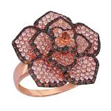 Кольцо из красного золота Королева цветов с фианитами