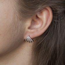 Серебряные серьги-пуссеты Ракушки с фианитами