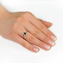 Золотое кольцо Инесса в белом цвете с гранатом и цирконием
