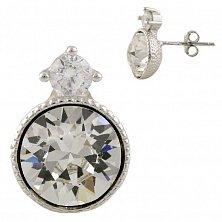 Серебряные серьги-пуссеты Анита с кристаллами циркония