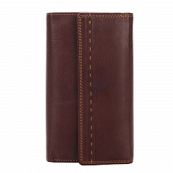 Кожаный кошелек Genuine Leather gr0322 коричневого цвета на кнопке