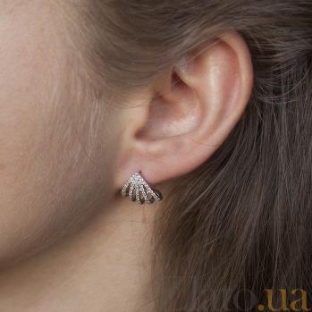 Серебряные серьги-пуссеты Ракушки с фианитами 000063114